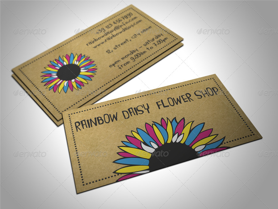 Flower Shop Business Card by freshinkstain | GraphicRiver