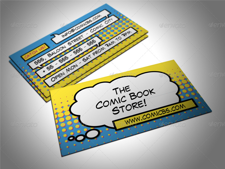 Comic Book Store Business Card by freshinkstain | GraphicRiver