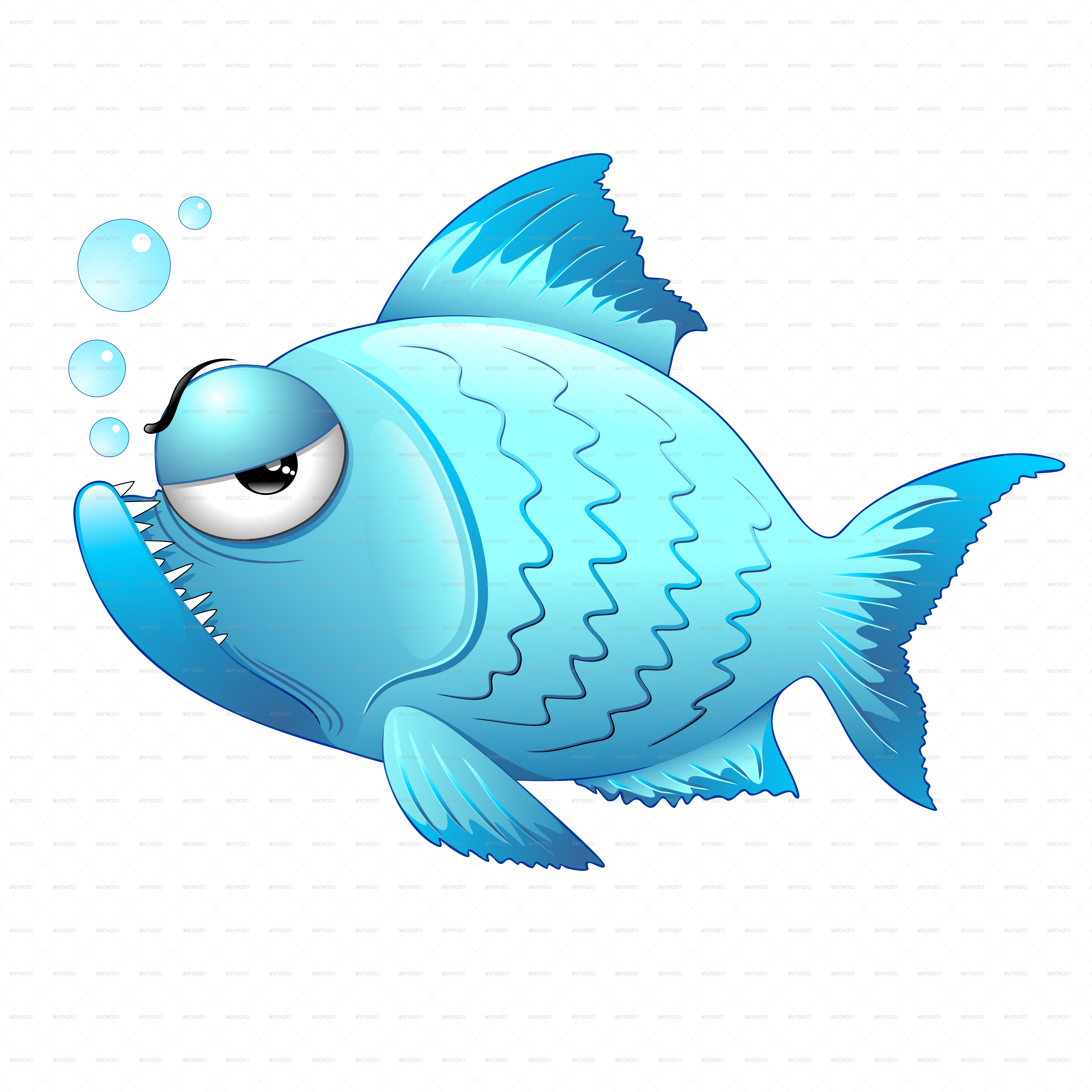 Grumpy Fish Cartoon By Bluedarkat Graphicriver