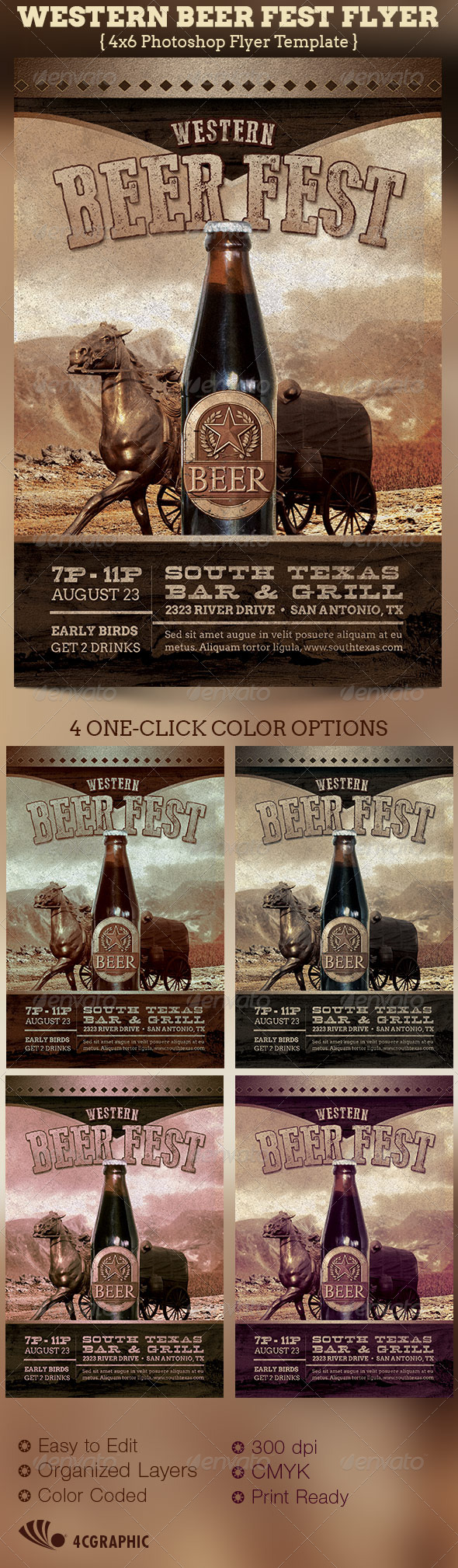 Western Beer Fest Flyer Template - Events Flyers