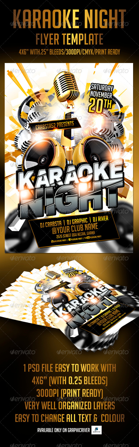 Karaoke Night Flyer Template   Clubs U0026 Parties Events