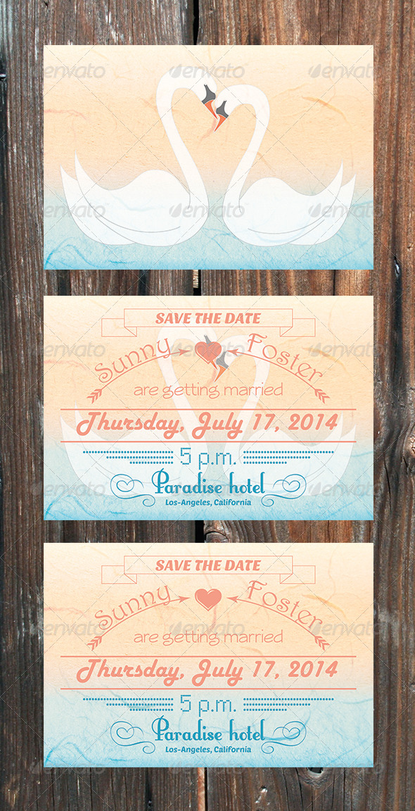 Swans Save The Date Card