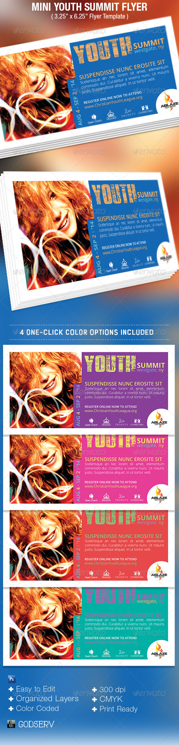 Mini Youth Summit Flyer Template - Church Flyers
