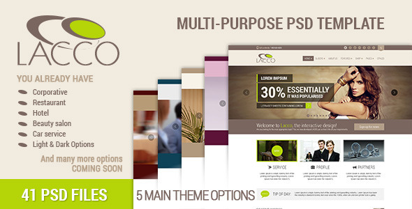 Lacco - Multi-purpose Premium PSD Template - Corporate PSD Templates