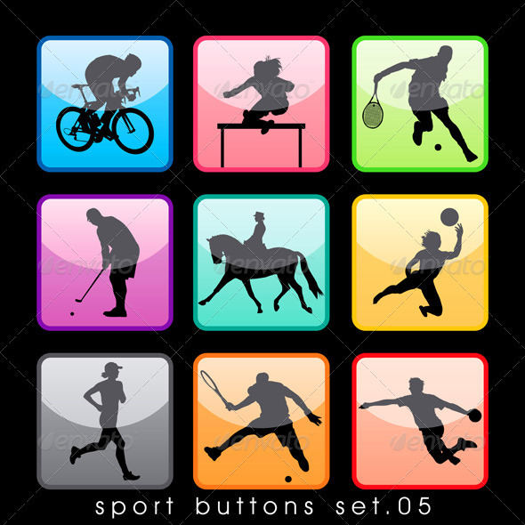 Sport Buttons Silhouettes Set - Sports/Activity Conceptual