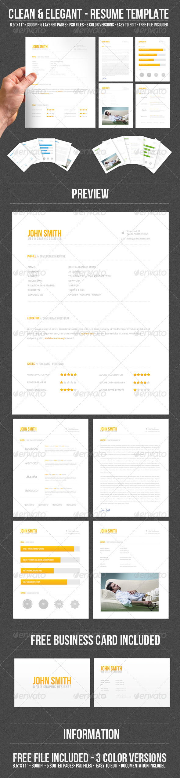 Clean & Elegant - Resume Template - Resumes Stationery