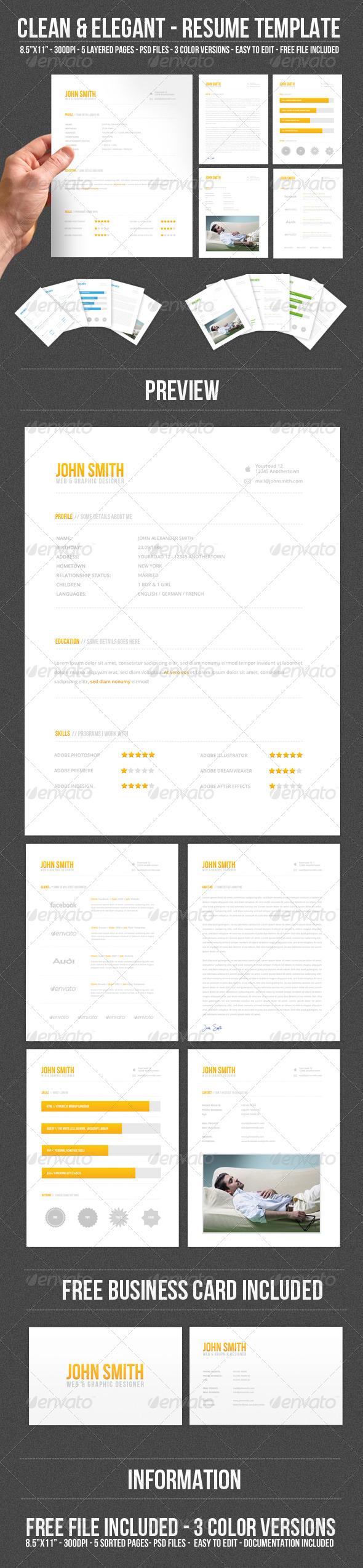 Clean & Elegant - Resume Template - Resumes Stationery