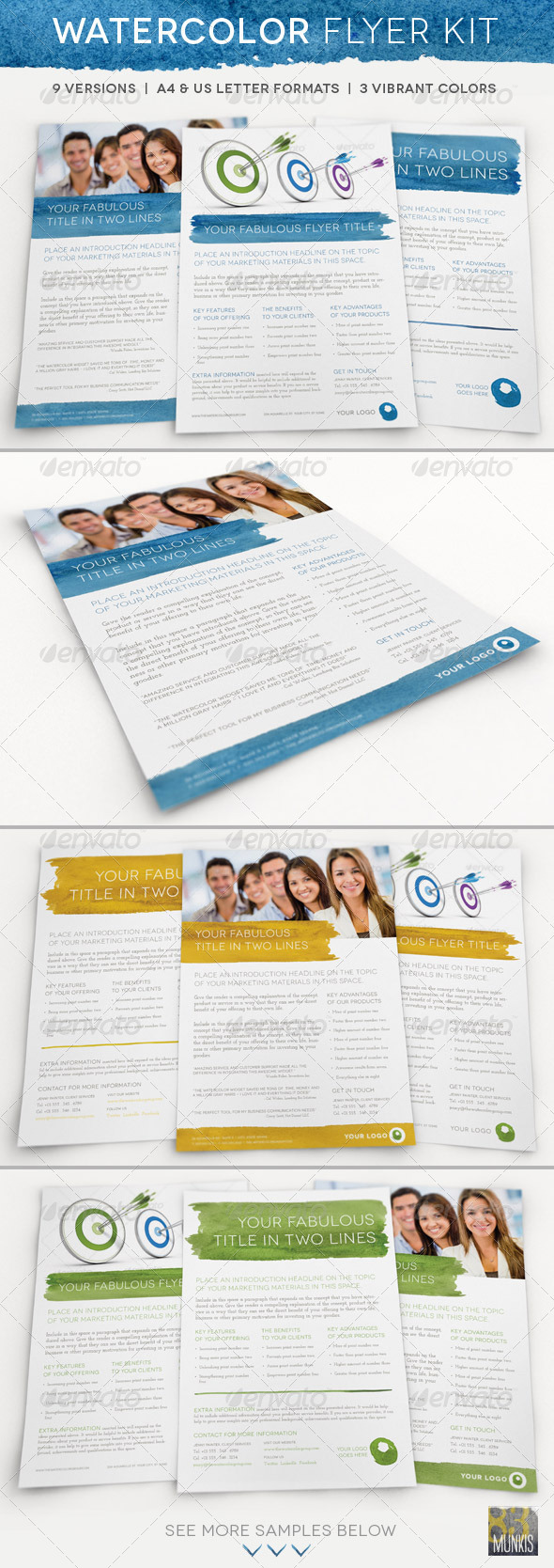 Watercolor Business Flyer Kit - Corporate Flyers