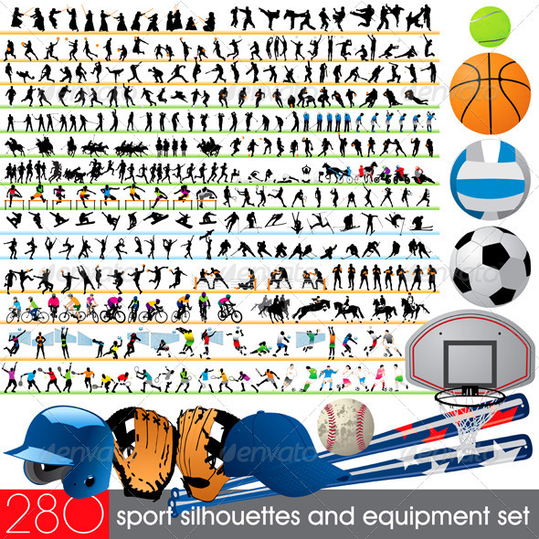 280 Sport Silhouettes and Equipment Set - Sports/Activity Conceptual