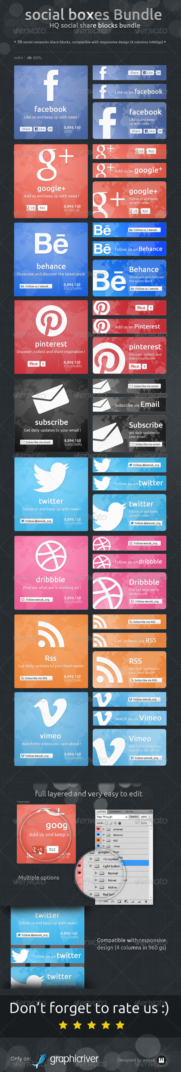 Social Boxes Bundle - Social Share Blocks - Social Media Web Elements