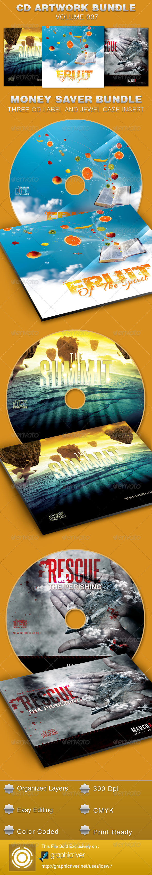 CD Cover Artwork Bundle-Vol 007 - CD & DVD Artwork Print Templates