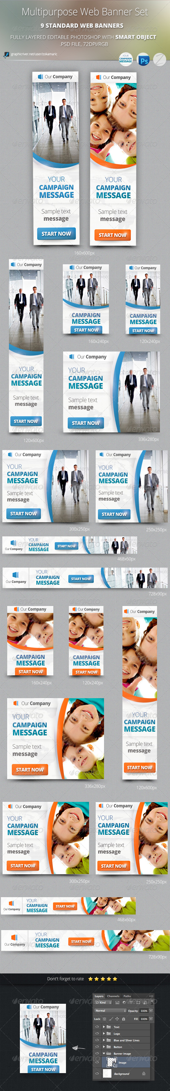 Multipurpose Web Banner Set - Banners & Ads Web Elements