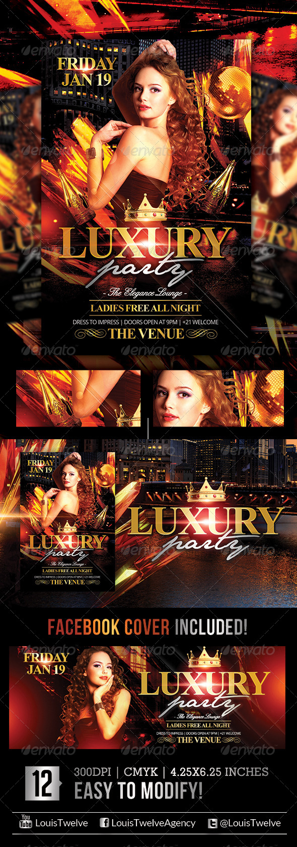 Luxury Nights | Flyer + Facebook Cover - Flyers Print Templates