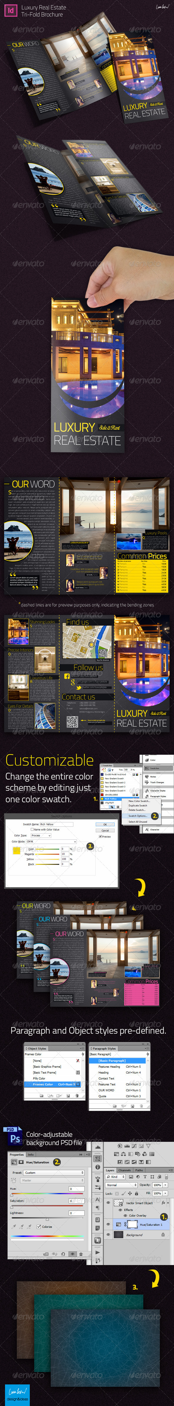 luxury real estate indesign trifold brochure by looca graphicriver. Black Bedroom Furniture Sets. Home Design Ideas