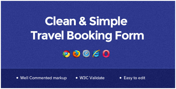 Clean & Simple Travel Booking Form - CodeCanyon Item for Sale