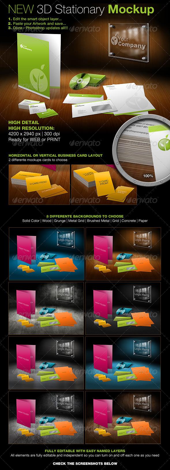 New 3D Stationary Mockup - Stationery Print