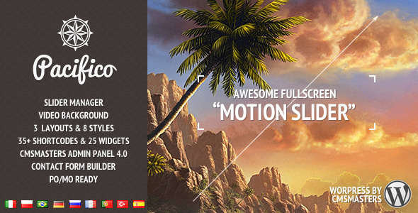 Pacifico – Fullscreen wp theme with motion effect