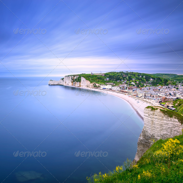 Etretat village. Aerial view from the cliff. Normandy, France. - Stock Photo - Images