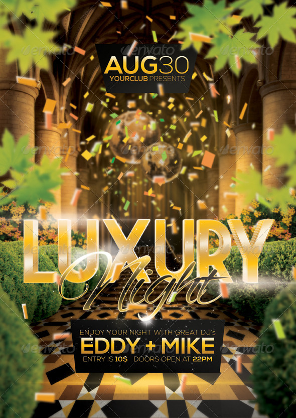 a4 luxury night party club poster by vasaki