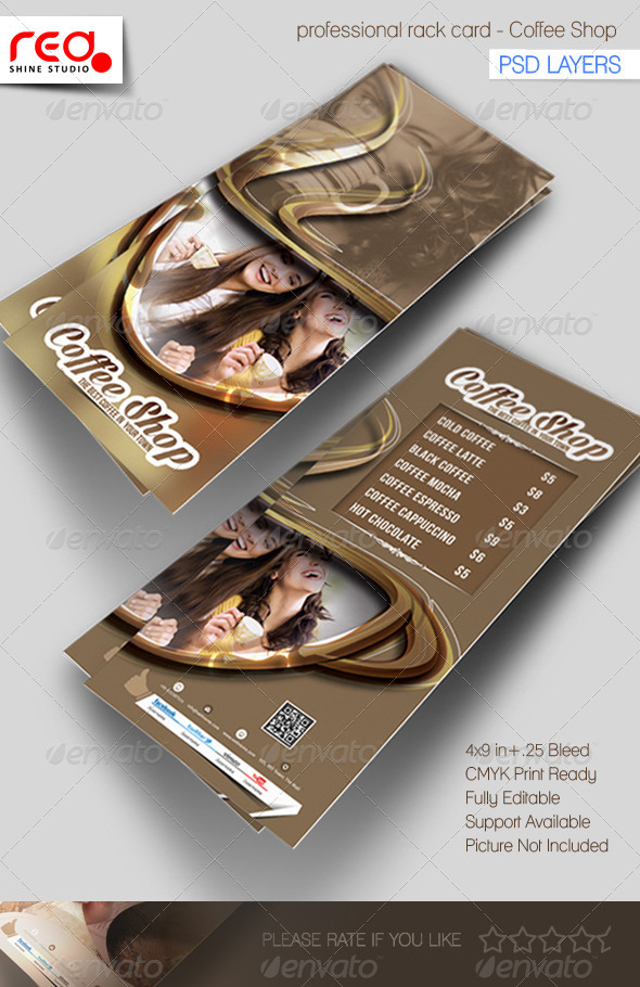 Coffee Shop Rack Card Template By Redshinestudio GraphicRiver - 4x9 rack card template