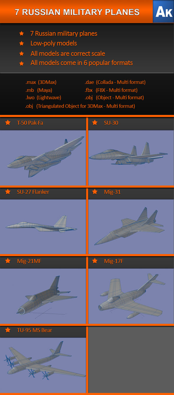 7 Russian Military Planes   - 3DOcean Item for Sale