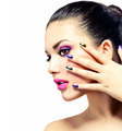 Beauty Makeup. Purple Make-up and Colorful Bright Nails - PhotoDune Item for Sale