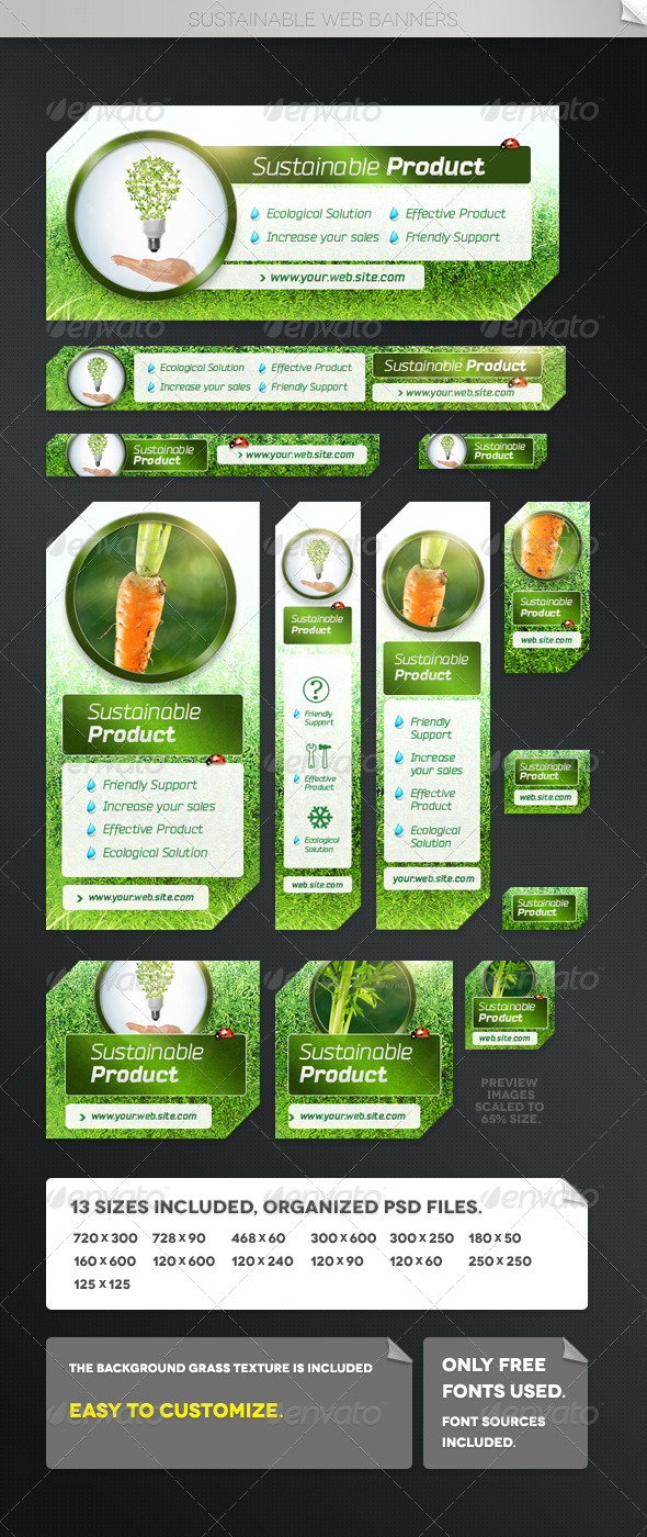Sustainable Web Banner Templates - Banners & Ads Web Elements