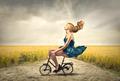 Blonde Woman Cycling