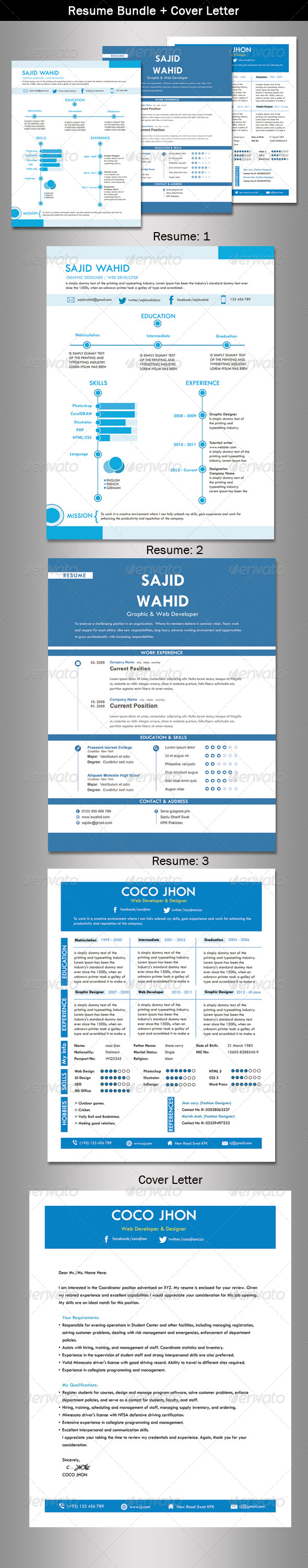 Resume Bundle + Cover Letter - Resumes Stationery