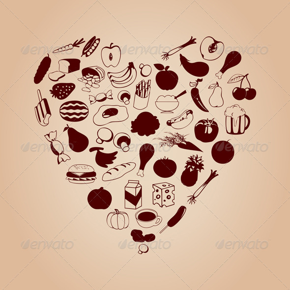 Heart from meal - Food Objects