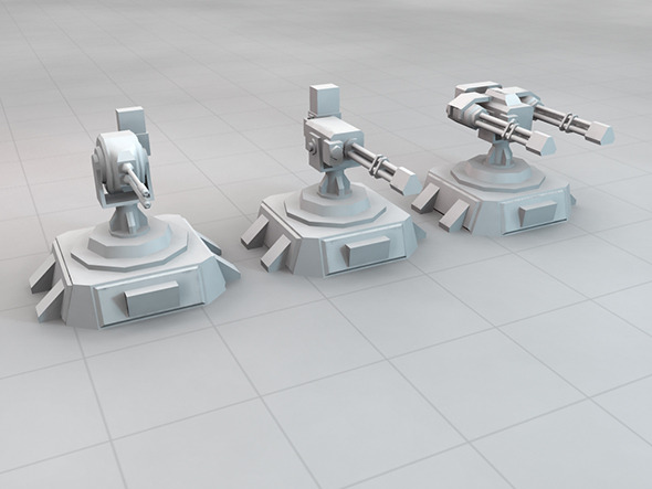 SCi-FI Turret Set - 3DOcean Item for Sale
