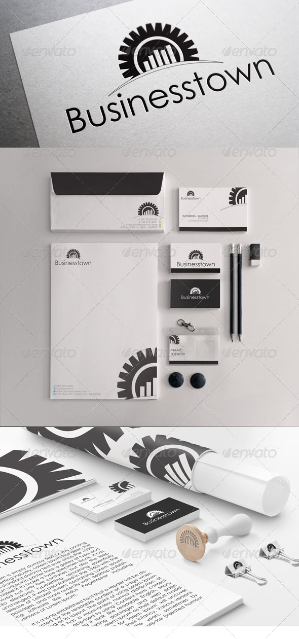 Black & White Business Town Stationary Templates - Stationery Print Templates