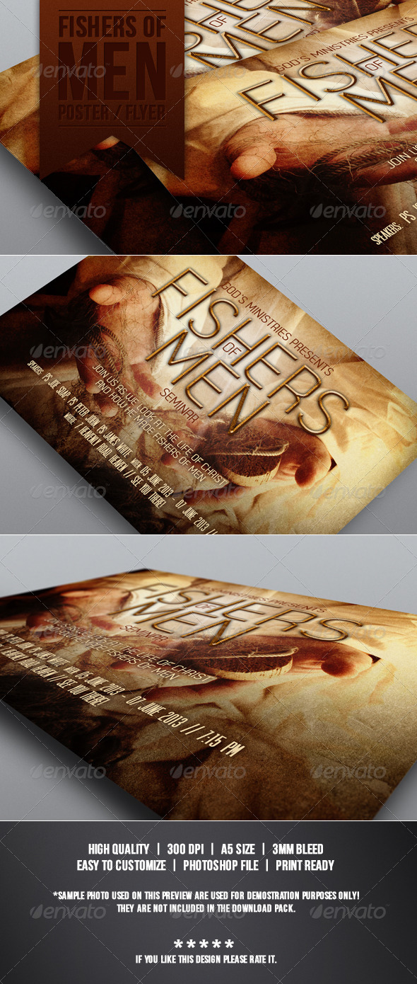 Fishers of Men Flyer Template - Church Flyers