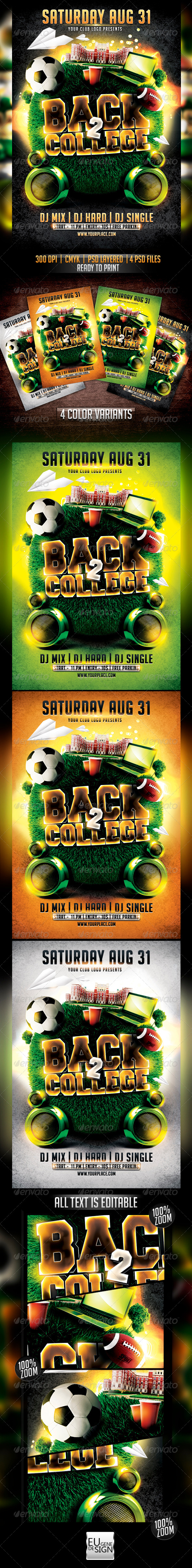 Back to College Flyer Template - Clubs & Parties Events