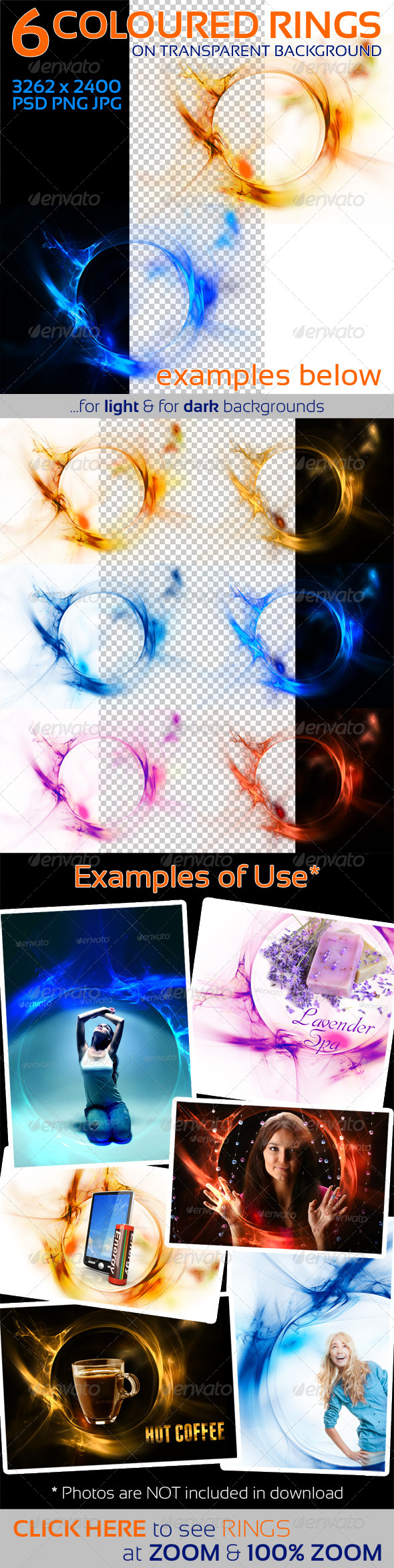 6 Colored Circles on Transparent Background - Decorative Graphics