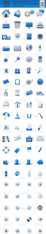 80 Glossy Web Icons - Web Icons