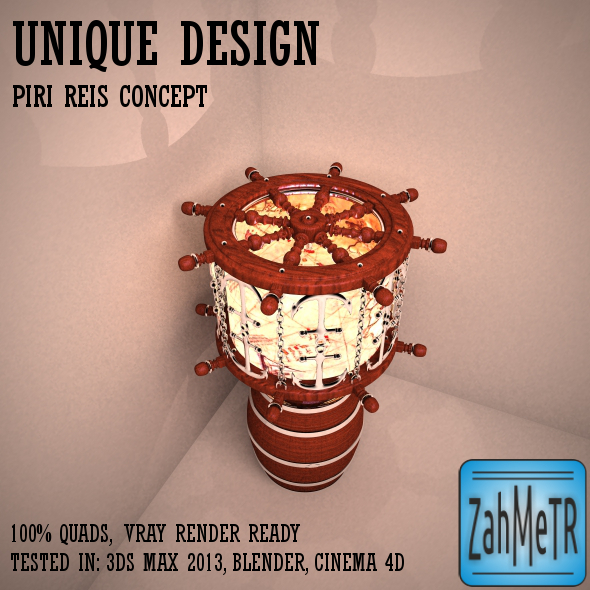 Marine Lampshade Piri Reis Concept - 3DOcean Item for Sale