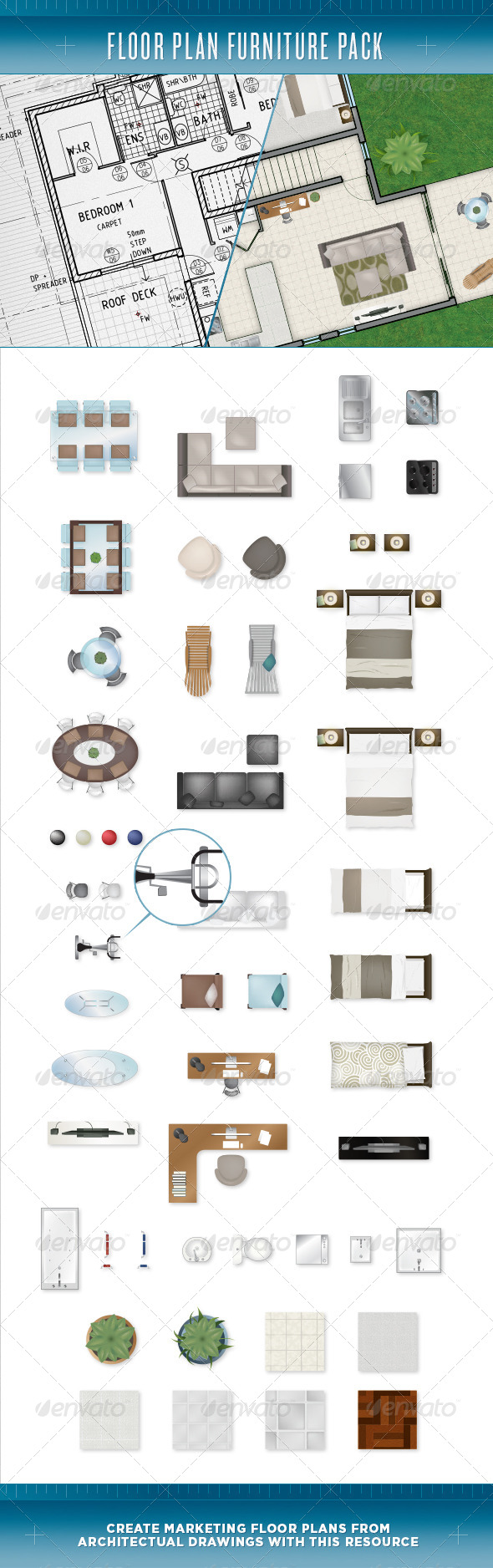 Floor Plan Furniture Pack - Objects Vectors