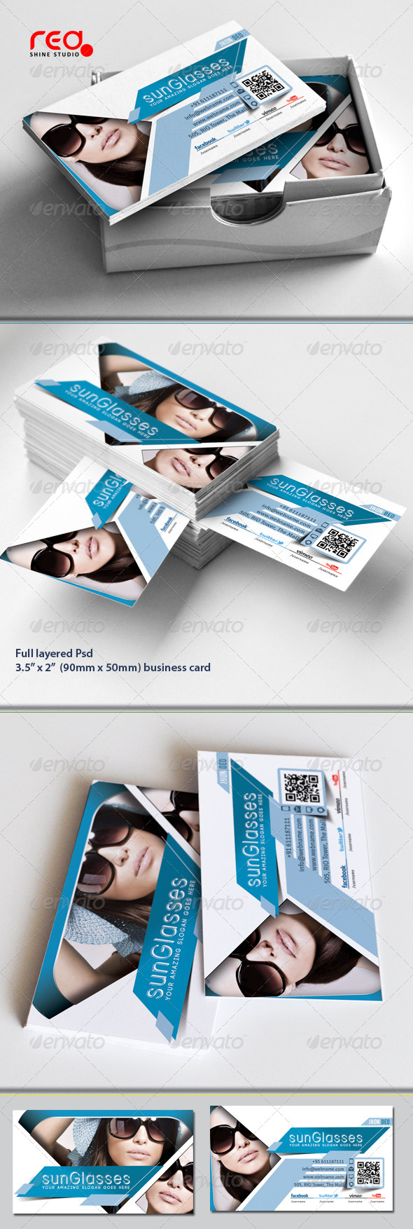 SunGlasses Fashion Store Business Card Set - Industry Specific Business Cards