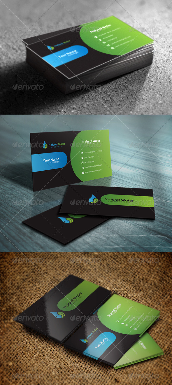 Natural water business card by haseebkhattak graphicriver natural water business card colourmoves
