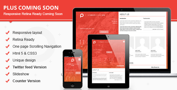 Plus Responsive Retina Ready Coming Soon  - Under Construction Specialty Pages