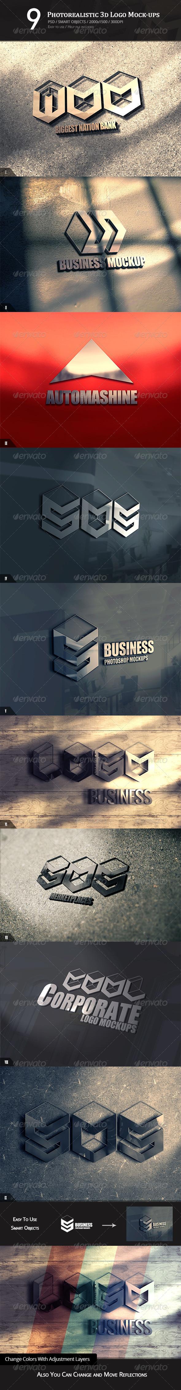 9 Photorealistic 3D Logo Mock-ups - Logo Product Mock-Ups
