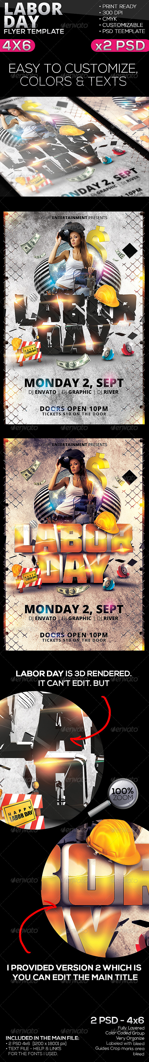 Labor Day Flyer Template   Clubs U0026 Parties Events