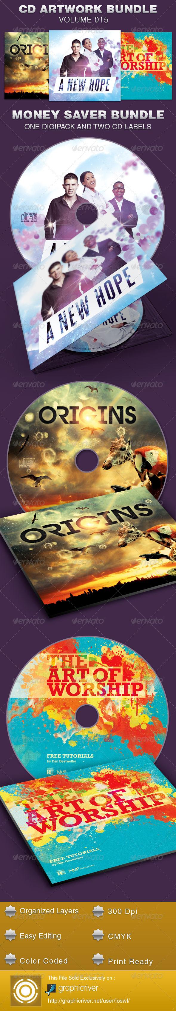 CD Cover Artwork Template Bundle-Vol 015 - CD & DVD Artwork Print Templates