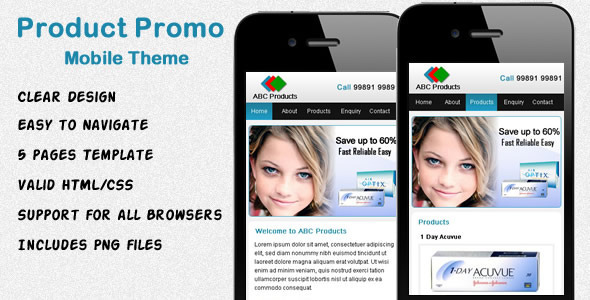 Product Promo Mobile Template - Mobile Site Templates