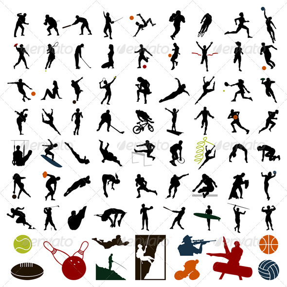 Silhouettes of sportsmen - People Characters
