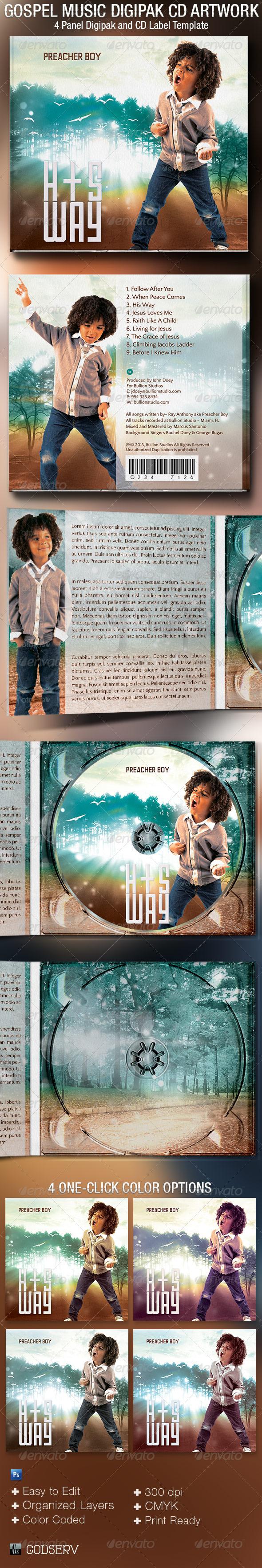 Gospel Music 4 Panel Digipak CD Artwork Template - CD & DVD Artwork Print Templates