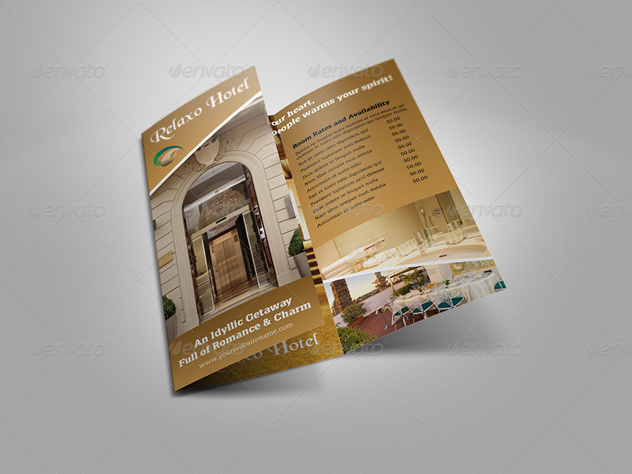 Hotel And Motel TriFold Brochure Template By OWPictures - Hotel brochure template