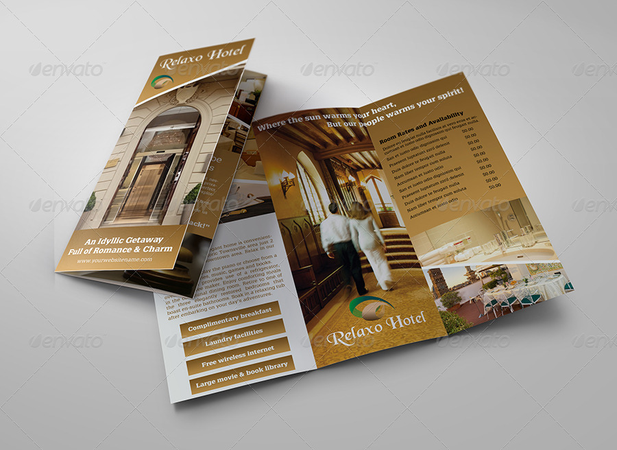 Amazing Hotel And Motel Tri Fold Brochure Template
