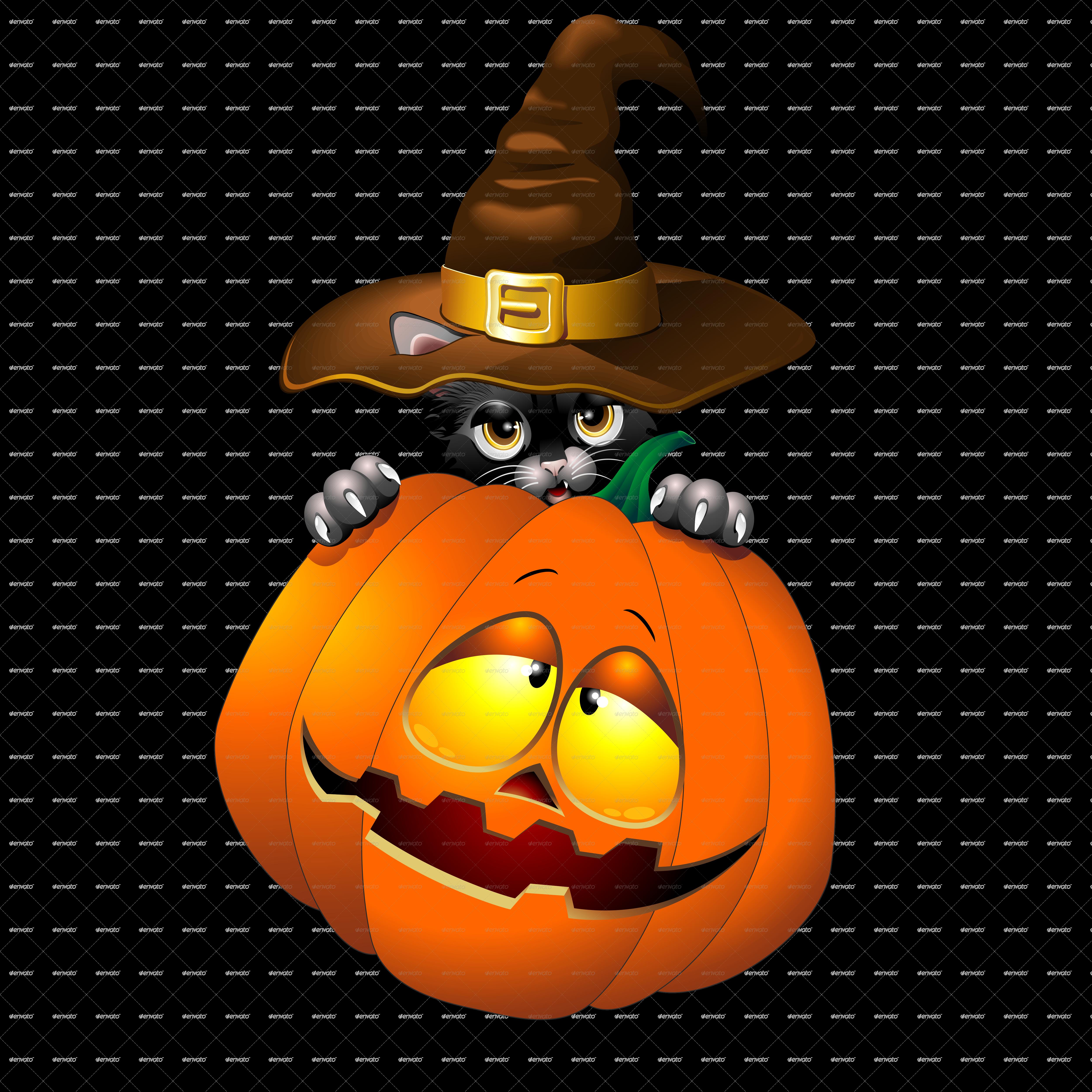 Halloween Black Kitten Cartoon With Pumpkin by Bluedarkat ...